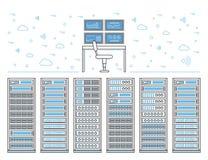Комната и центр данных сервера иллюстрация вектора