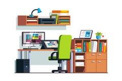 Комната иллюстратора и дизайнера с графической таблеткой Стоковая Фотография RF