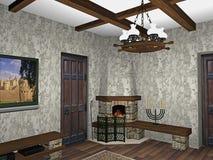 комната камина конструкции Стоковое Изображение