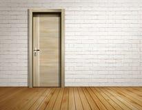 Комната кирпича с современной дверью стоковое изображение rf