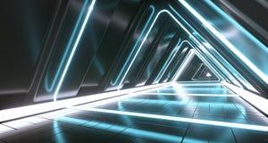 Комната коридора темной футуристической научной фантастики треугольника пустая с неоновым Li иллюстрация вектора