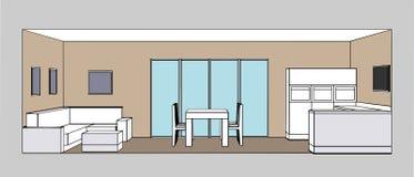 Комната кухни внутренняя, живущая и столовая Стоковое Изображение RF