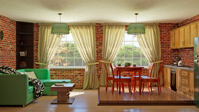 Комната кухни внутренняя живущая Стоковое Фото