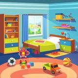 Комната мальчика с кроватью, кухонным шкафом и игрушками на поле Стоковое Изображение