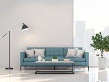 Комната минимального стиля живущая с видом на город 3d представляет иллюстрация штока
