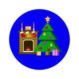Комната Нового Года Рождественская елка с камином Стоковые Изображения RF