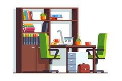 Комната офиса бухгалтера или юриста с столом, компьтер-книжкой Стоковое Изображение