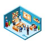 Комната офиса вектора равновеликая, coworking бесплатная иллюстрация