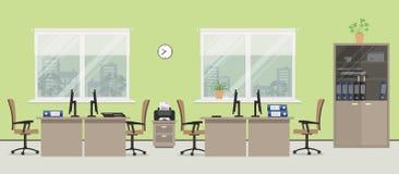 Комната офиса в зеленом цвете Стоковые Фотографии RF