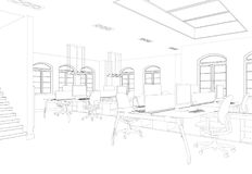 Комната офиса дизайна интерьера большая с чертежом столов изготовленным на заказ Стоковое Фото