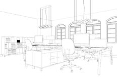 Комната офиса дизайна интерьера большая с чертежом столов изготовленным на заказ Стоковые Фотографии RF