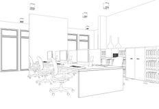 Комната офиса дизайна интерьера большая с чертежом столов изготовленным на заказ Стоковые Изображения