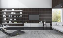 комната перевода 3d роскошная живущая с темной древесиной и славным взглядом Стоковые Фото
