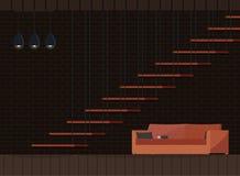 Комната прожития промышленного дизайна фона просторной квартиры темного внутреннего современная иллюстрация вектора