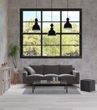 Комната прожития стиля просторной квартиры, сырцовый бетон, темный - серое кресло, черная лампа, деревянный пол иллюстрация штока