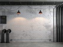 Комната промышленного стиля просторной квартиры пустая с белой кирпичной стеной 3d представляет иллюстрация вектора