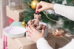Комната рождества живущая с рождественской елкой и подарками под ей Стоковые Фото