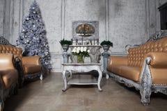 Комната рождества живущая с деревом Стоковые Изображения RF