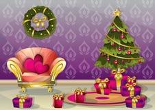 Комната рождества иллюстрации вектора шаржа внутренняя с отделенными слоями Стоковая Фотография RF