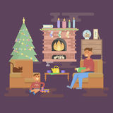 Комната рождества дома иллюстрация вектора