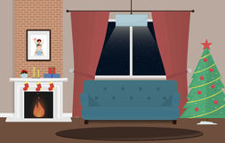 Комната рождества с камином и настоящими моментами Комната роскошного дизайна внутренняя живущая Теплый уютный камин украшенный д Стоковое Изображение RF
