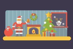 Комната Санта Клаус Нового Года с подарочной коробкой и сумкой Стоковое Изображение