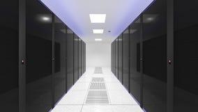 Комната сервера Компьютеры в комнате сервера Черно-белый цвет иллюстрация вектора