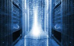 Комната сервера с программируя элементом дизайна данных , концепция большого хранения данных и вычислительная технология облака стоковая фотография rf