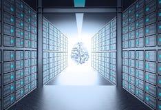 комната сервера 3d водя для того чтобы metal значок человеческого мозга Стоковое Изображение