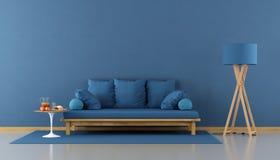 комната сини живя самомоднейшая иллюстрация вектора
