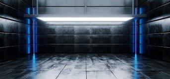 Комната современного живого пустого сверхконтрастного Grunge Sci Fi конкретная реалистическая с большим этапом выставочного зала  бесплатная иллюстрация