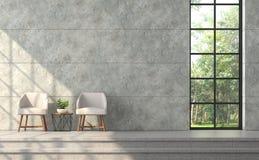 Комната современного стиля просторной квартиры живущая с отполированной бетонной стеной 3d представляет иллюстрация вектора