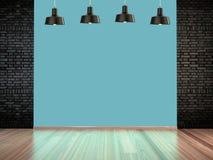 Комната с лампами фары, пустой космос с деревянным настилом и кирпичная стена как предпосылка 3d самонаводят нутряной театр перев Стоковое фото RF