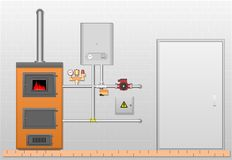 Комната с боилером и элементы на серой кирпичной стене стоковые изображения rf