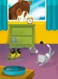 Комната с животными - иллюстрация шаржа для детей Стоковая Фотография