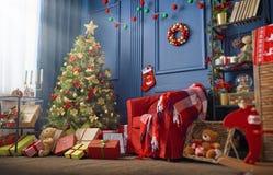 Комната украшенная для рождества стоковая фотография