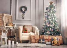 Комната украшенная для рождества Стоковое Фото