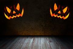 Комната хеллоуина с тыквой Стоковая Фотография