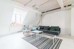 Комната яркого чердака живущая с деревянным потолком испускает лучи Стоковые Изображения RF