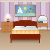 комната dof кровати нутряная отмелая Стоковое Фото