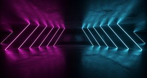Комната Grunge научной фантастики футуристическая с фиолетовыми и голубыми неоновыми светами w бесплатная иллюстрация
