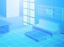 Комната Wireframe голубая живущая бесплатная иллюстрация