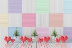 Комнаты влюбленности на день ` s валентинки Предпосылка и интерьер 3d представляют Стоковое Изображение RF