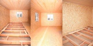 Комнаты здания с деревянной отделкой Стоковые Фотографии RF