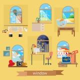 Комнаты и иллюстрации окон иллюстрация вектора