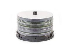 КОМПАКТНЫЙ ДИСК или dvd и коробка изолированные на белой предпосылке Стоковое Изображение