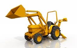 Компактный трактор, передний затяжелитель и backhoe, против белой предпосылки Стоковое Изображение RF
