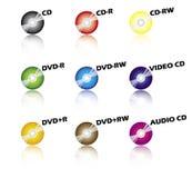 компакты-диски цвета Стоковые Изображения