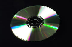 Компакт-диск на черной предпосылке Стоковая Фотография RF