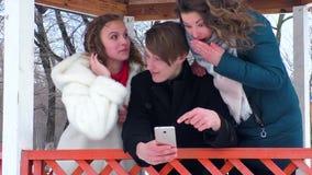 Компания делает selfie в газебо парка в зиме сток-видео
